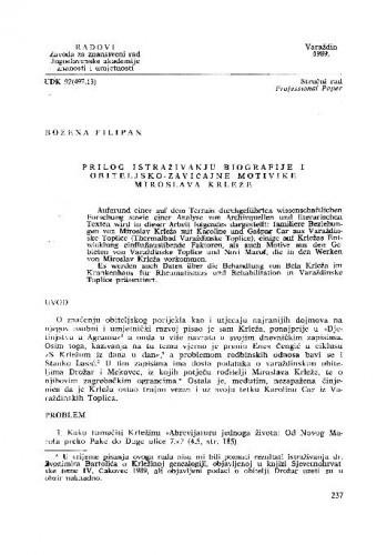 Prilog istraživanju biografije i obiteljsko-zavičajne motivike Miroslava Krleže / Božena Filipan