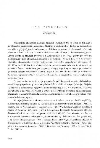 Jan Tinbergen : (1903.-1994.) / Gordan Družić