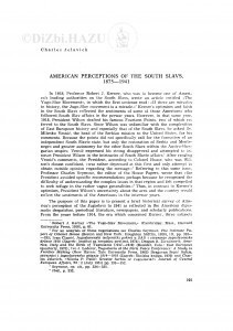 American perception of the South Slavs, 1875-1941 / C. Jelavich
