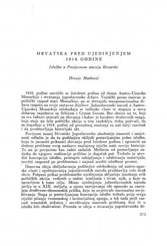 Hrvatska pred ujedinjenjem 1918. Izložba u Povijesnom muzeju Hrvatske / H. Matković
