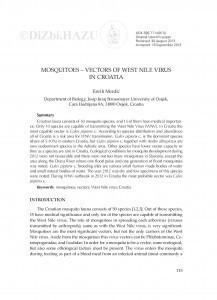 Mosquitoes - vectors of West Nile virus in Croatia / Enrih Merdić