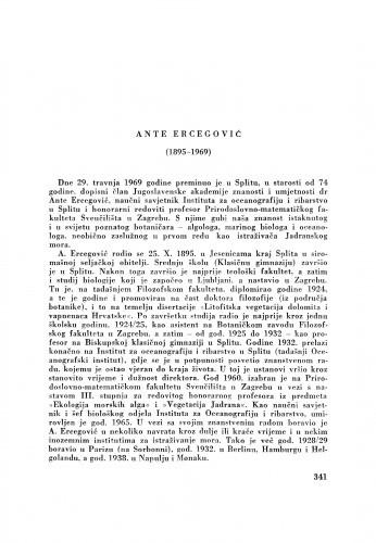 Ante Ercegović (1895-1969). Znanstveni radovi Ante Ercegovića : [nekrolog] / S. Horvatić