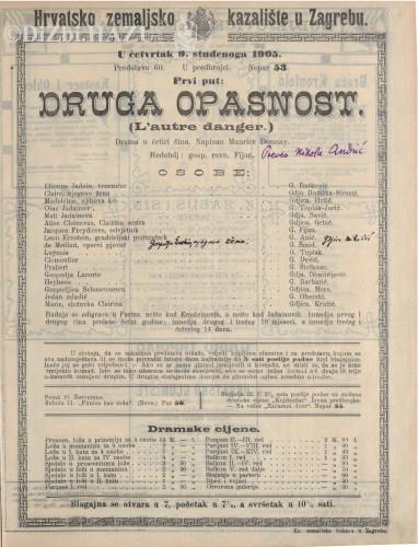 Druga opasnost : drama u četiri čina / napisao Maurice Donnay  =  L'autre danger