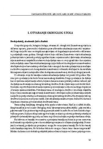 Otvaranje Okruglog stola / Jakša Barbić