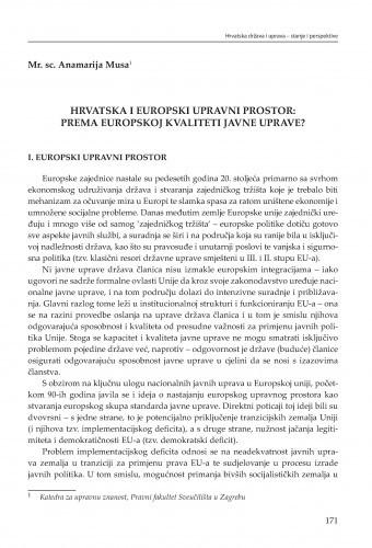 Hrvatska i europski upravni prostor: Prema europskoj kvaliteti javne uprave? : [strateške zadaće] / Anamarija Musa