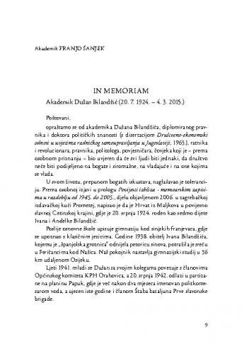 In memoriam : Akademik Dušan Bilandžić (20. 7. 1924. - 4. 3. 2015.) / Franjo Šanjek