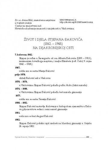 Život i djela Stjepana Đakovića (1862. – 1948.) na dijakronijskoj crti / Anica Bilić