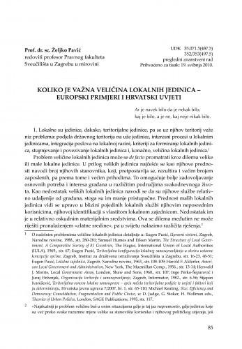 Koliko je važna veličina lokalnih jedinica - europski primjeri i hrvatski uvjeti : [uvodno izlaganje] / Željko Pavić