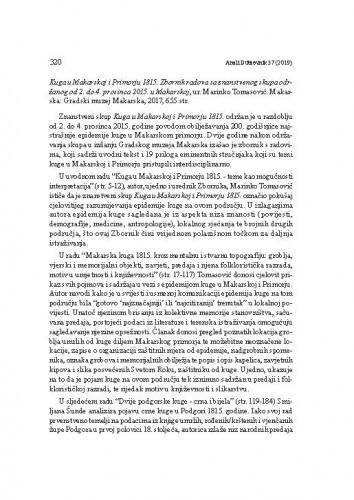 Kuga u Makarskoj i Primorju 1815. Zbornik radova sa znanstvenog skupa održanog od 2. do 4. prosinca 2015. u Makarskoj, ur. Marinko Tomasović. Makarska: Gradski muzej Makarska, 2017. : [prikaz] / Ivana Andrijašević