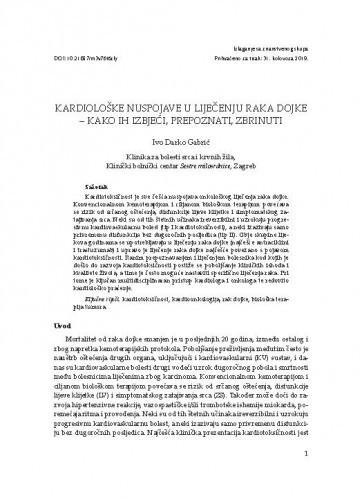 Kardiološke nuspojave u liječenju raka dojke - kako ih izbjeći, prepoznati, zbrinuti / Ivo Darko Gabrić