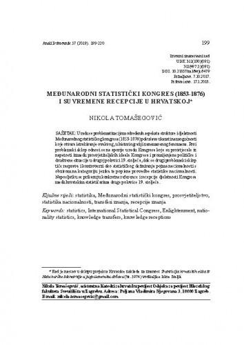 Međunarodni statistički kongres (1853-1876) i suvremene recepcije u Hrvatskoj / Nikola Tomašegović
