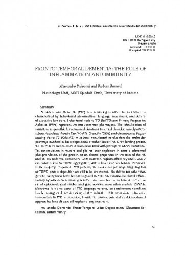 Fronto-temporal dementia: The role of inflammation and immunityAlessandro Padovani, Barbara Borroni