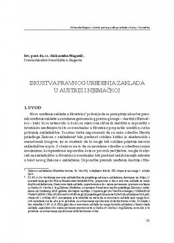 Iskustva pravnog uređenja zaklada u Austriji i Njemačkoj : [uvodno izlaganje] / Aleksandra Maganić