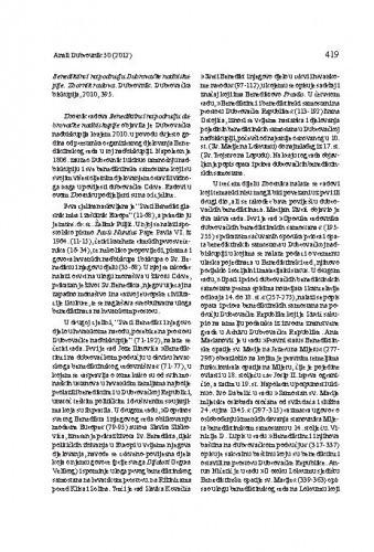 Benediktinci na području Dubrovačke nadbiskupije. Zbornik radova. Dubrovnik: Dubrovačka biskupija, 2010 : [prikaz] / Božena Glavan