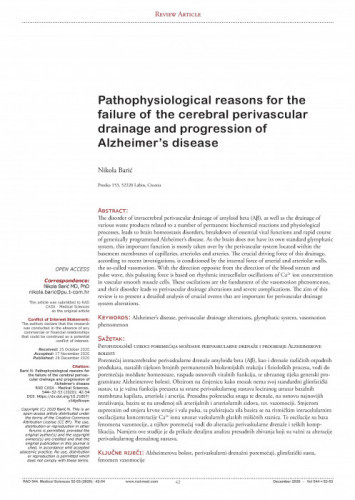 Pathophysiological reasons for the failure of the cerebral perivascular drainage and progression of Alzheimer's disease / Nikola Barić