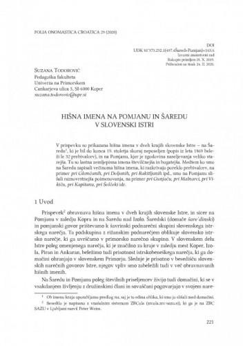 Hišna imena na Pomjanu in Šaredu v slovenski Istri / Suzana Todorović
