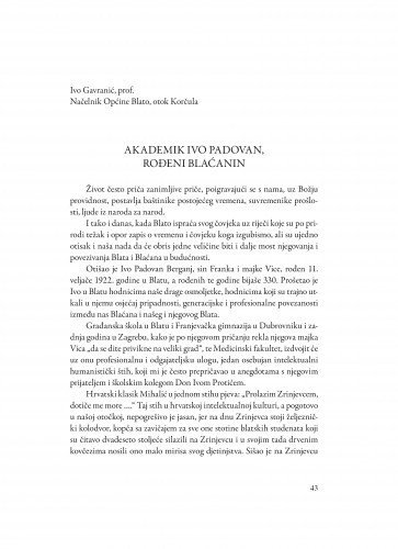 Akademik Ivo Padovan, rođeni Blaćanin / Ivo Gavranić