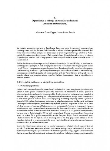 Ograničenja u vršenju univerzalne sudbenosti (principa univerzaliteta) / Vladimir-Đuro Degan; Vesna Barić Punda