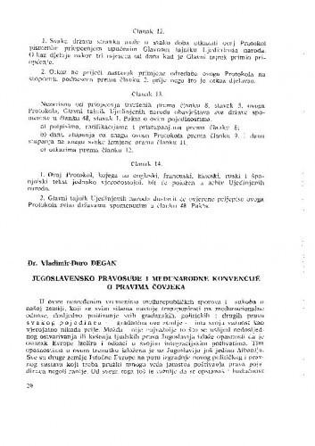 Jugoslavensko pravosuđe i međunarodne konvencije o pravima čovjeka / Vladimir-Đuro Degan