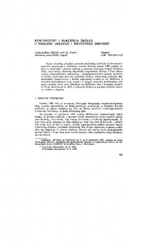 Kontinuitet i sukcesija država u pogledu državne i društvene imovine / Vladimir-Đuro Degan