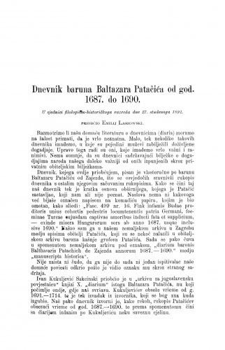 Dnevnik baruna Baltazara Patačića od god. 1687. do 1690. / Emilije Laszowski