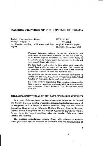 Maritime Frontiers of the Republic of Croatia / Vladimir-Djuro Degan