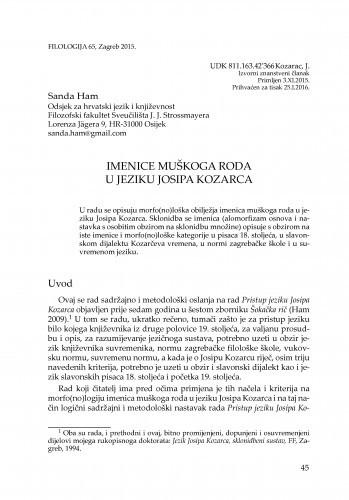 Imenice muškoga roda u jeziku Josipa Kozarca / Sanda Ham
