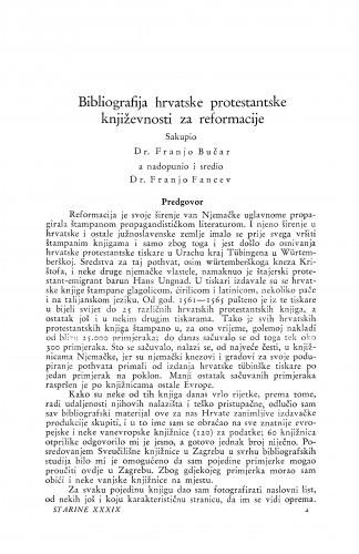 Bibliografija hrvatske protestantske književnosti za reformacije / Franjo Bučar i Franjo Fancev