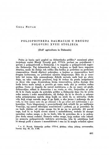 Poljoprivreda Dalmacije u drugoj polovini XVIII stoljeća / Grga Novak