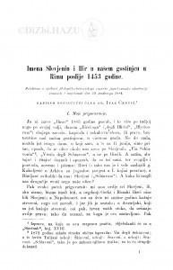 Imena Slovjenin i Ilir u našem gostinjcu u Rimu poslije 1453 godine / I. Črnčić