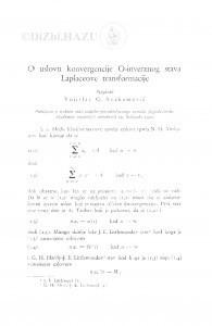 O uslovu konvergencije O-inverznog stava Laplaceove transformacije / Vojislav G. Avakumović