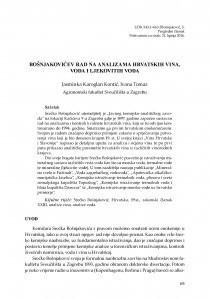 Bošnjakovićev rad na analizama hrvatskih vina, voda i ljekovitih voda / Jasmina Karoglan Kontić ; Ivana Tomaz