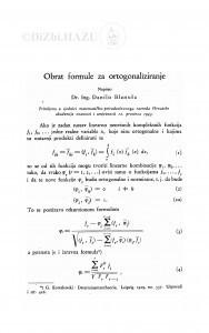 Obrat formule za ortogonaliziranje / Danilo Blaniuša