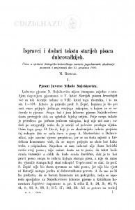 Ispravci i dodaci tekstu starijeh pisaca dubrovačkijeh : <1.>  Pjesni luvene Nikole Naleškovića / M. Rešetar