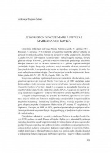 Iz korespondencije Marka Foteza i Marijana Matkovića / Antonija Bogner-Šaban