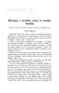 Municipija u hrvatskoj državi za narodne dinastije / M. Brašnić
