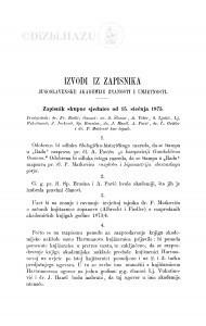 Izvodi iz zapisnika Jugoslavenske akademije znanosti i umjetnosti [1875]