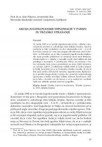 Akcija jugoslovanske diplomacje v Parizu in Tržaško vprašanje / Jože Pirjevec