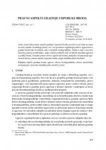 Pravni aspekti gradnje i isporuke broda / Zoran Tasić