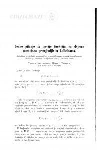 Jedno pitanje iz teorije funkcija sa dvjema nezavisno promjenljivim količinama / M. Petrović