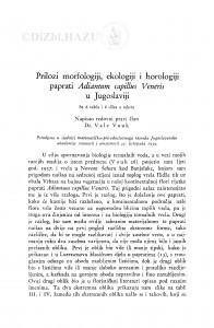 Prilozi morfologiji, ekologiji i horologiji paprati Adiantum capillus Veneris u Jugoslaviji / V. Vouk