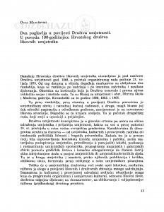 Dva poglavlja u povijesti Društva umjetnosti : u povodu 100-godišnjice Hrvatskog društva likovnih umjetnika / Olga Maruševski