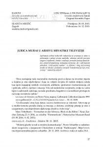 Jurica Murai u arhivu Hrvatske televizije / Seadeta Midžić