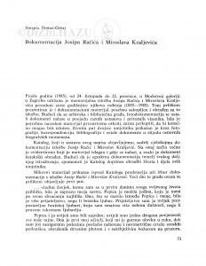 Dokumentacija  Josipa Račića i Miroslava Kraljevića / Smiljka Domac-Ceraj