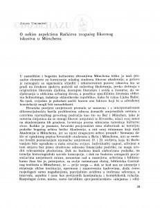 O nekim aspektima Račićeva mogućeg likovnog iskustva u Münchenu / Jelena Uskoković