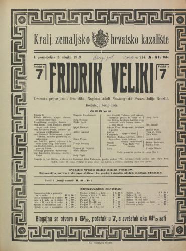 Fridrik Veliki Dramska pripovijest u šest slika