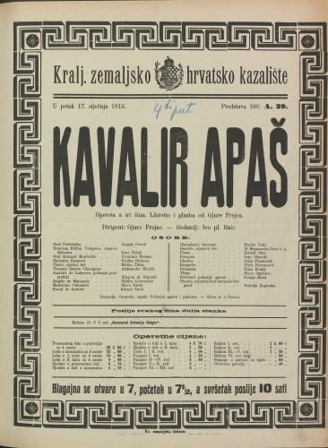 Kavalir Apaš Opereta u tri čina