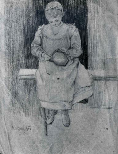 Raškaj, Slava(1877-1906): Djevojčica s vrčem u krilu ]
