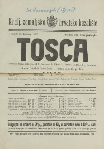 Tosca Glazbena drama u tri čina / Victorien Sardou