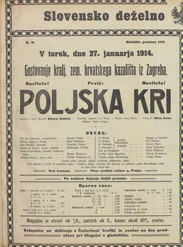 Poljska kri Opereta v treh dejanjih